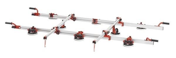 Vákuový prenášací rám na veľké dlažby a obklady s manometrom(8prísaviek)